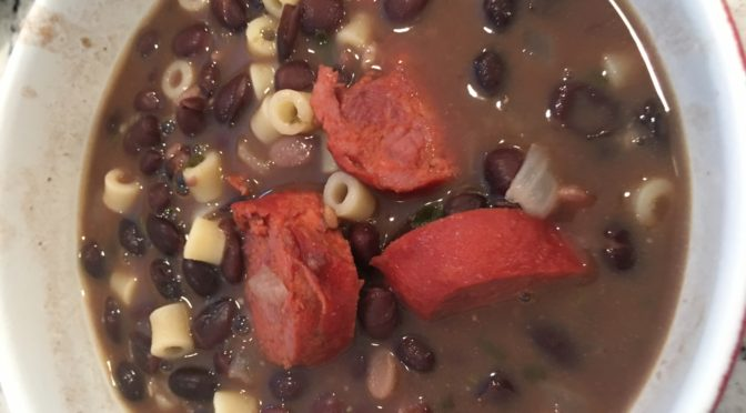 Mediterranean Black Bean and Chourico (Chorizo) Soup